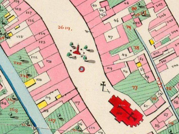 Mapa stabilního katastru z roku 1835. Prostor výzkumu je vyznačen červeným orámováním.