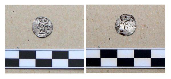 Foto nálezu stříbrné mince z Jizerního Vtelna.